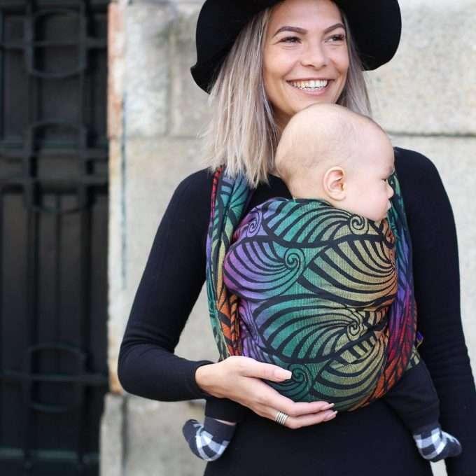 Yaro Fascia porta bebè Dandy Black Autumn Rainbow-0