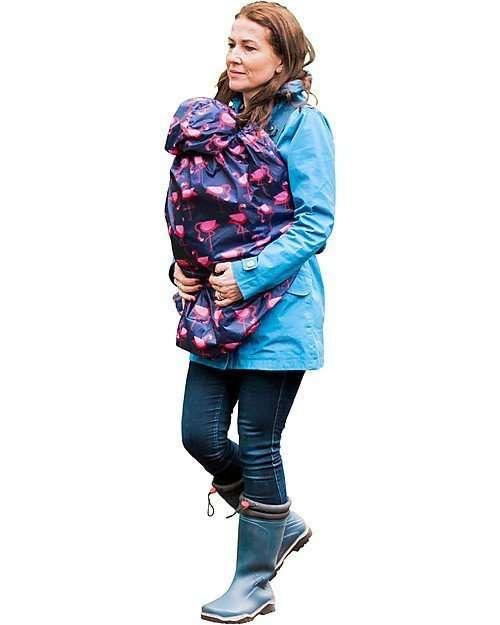 BundleBean Cover Protettiva Impermeabile Leggera Fenicotteri Blu per babywearing -0