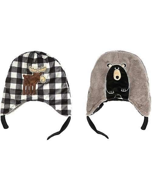 FlapJackKids Cappello Invernale reversibile SFF 50+ Alce/Orso-0