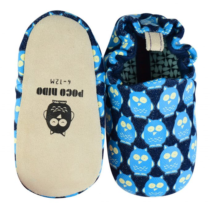 Poco Nido Denim Owls Mini Shoes Scarpine Primi Passi-0